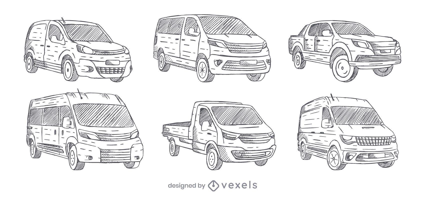 Conjunto de vans dibujado a mano