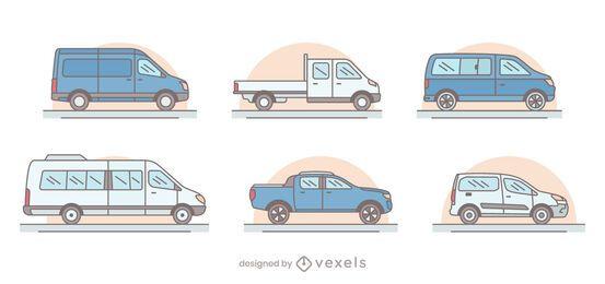 Conjunto de ilustração de vans