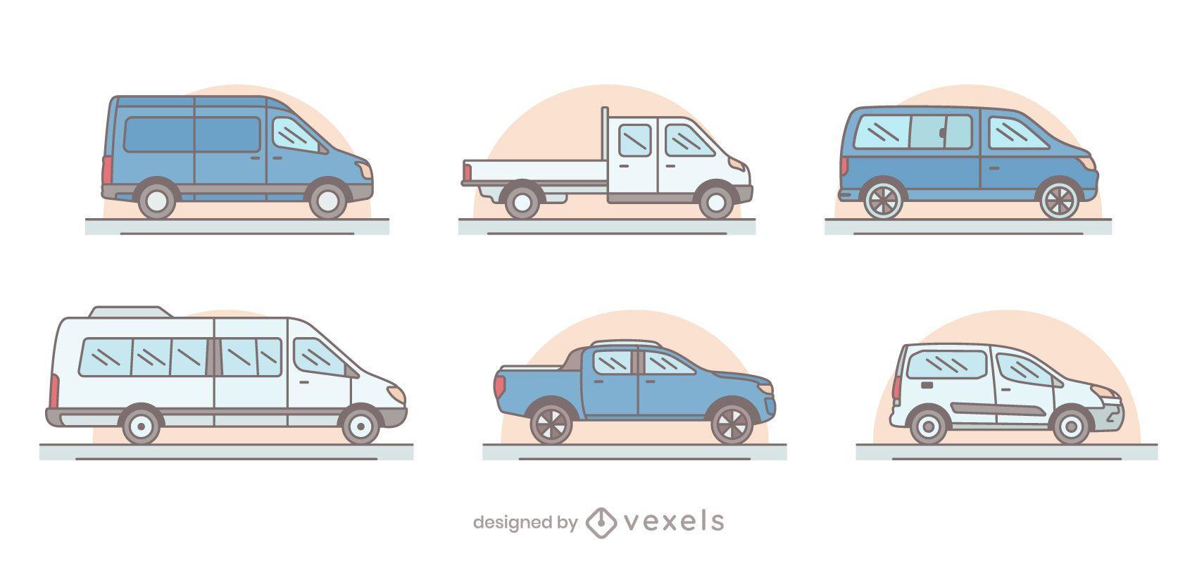 Conjunto de ilustración de furgonetas
