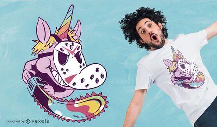 Einhorn mit Kettensägen-T-Shirt Design
