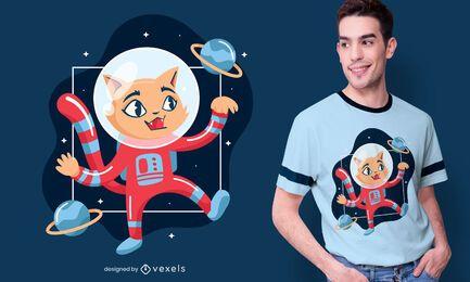 Diseño de camiseta de gatito astronauta.