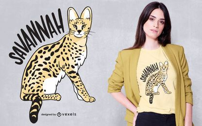 Design de t-shirt de gato Savannah