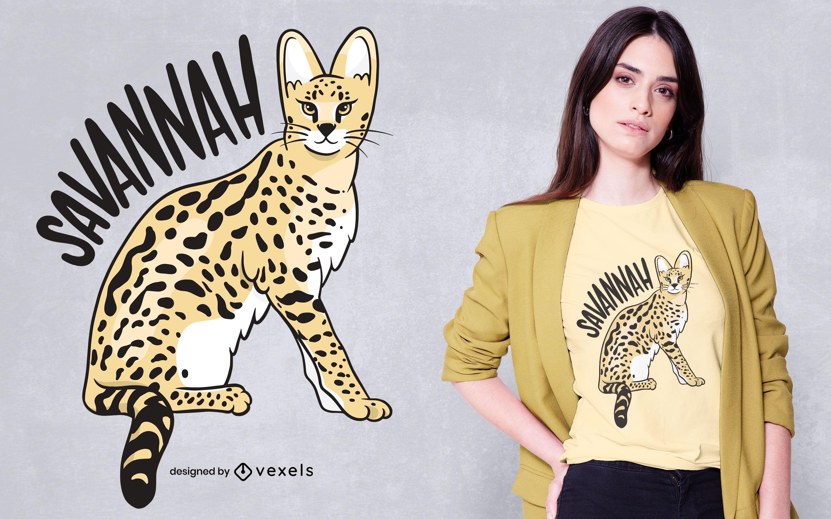 Diseño de camiseta de gato savannah