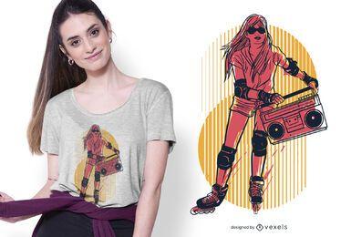Design de camiseta feminina de patins