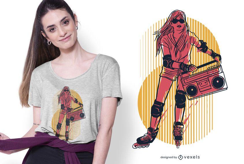 Rollerskates girl t-shirt design