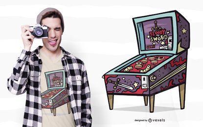 Design de camiseta para máquina de pinball