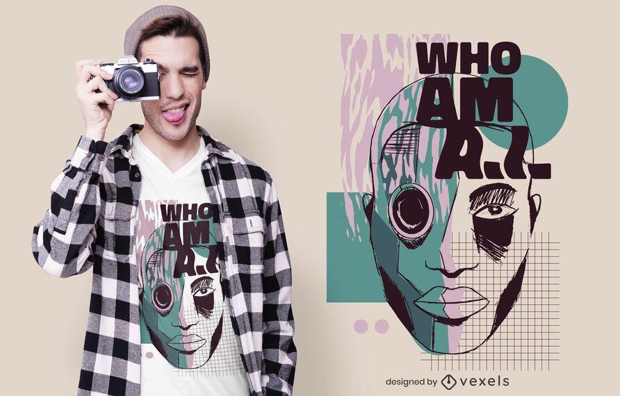 Diseño de camiseta de quién soy ai