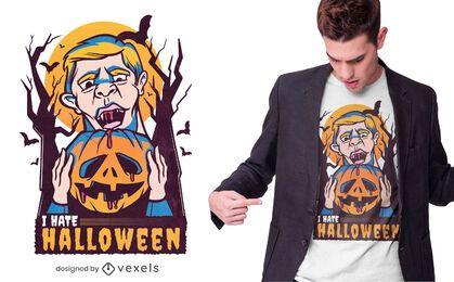 Odio el diseño de camiseta de halloween