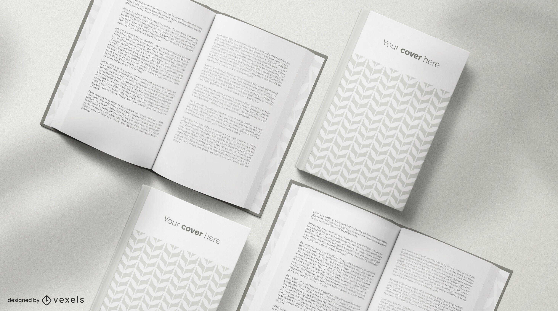 Composición de maqueta de libros