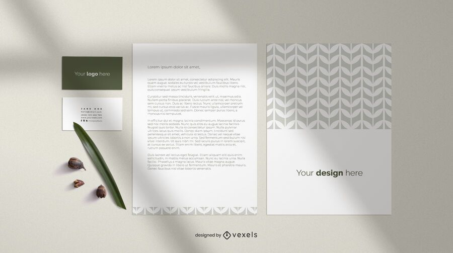 Business card and sheet mockup composition