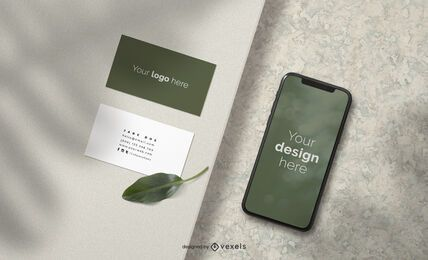 Business cards and iphone mockup composition