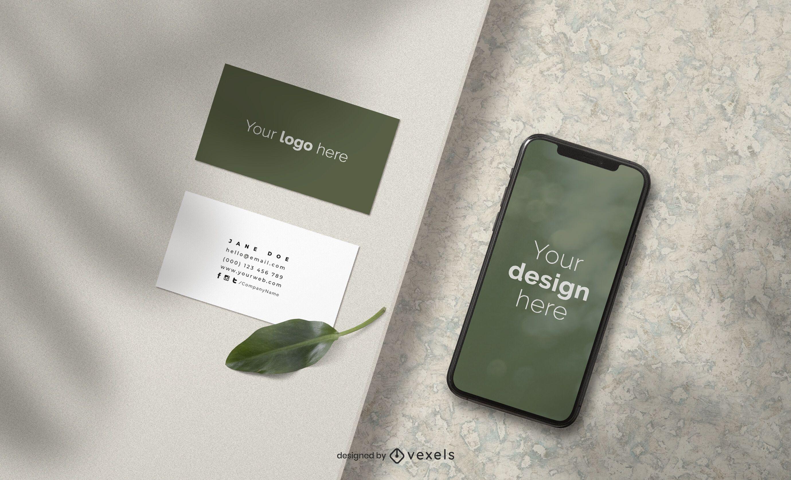 Cartões de visita e composição de maquete de iphone