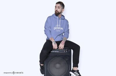 Model speaker hoodie mockup design