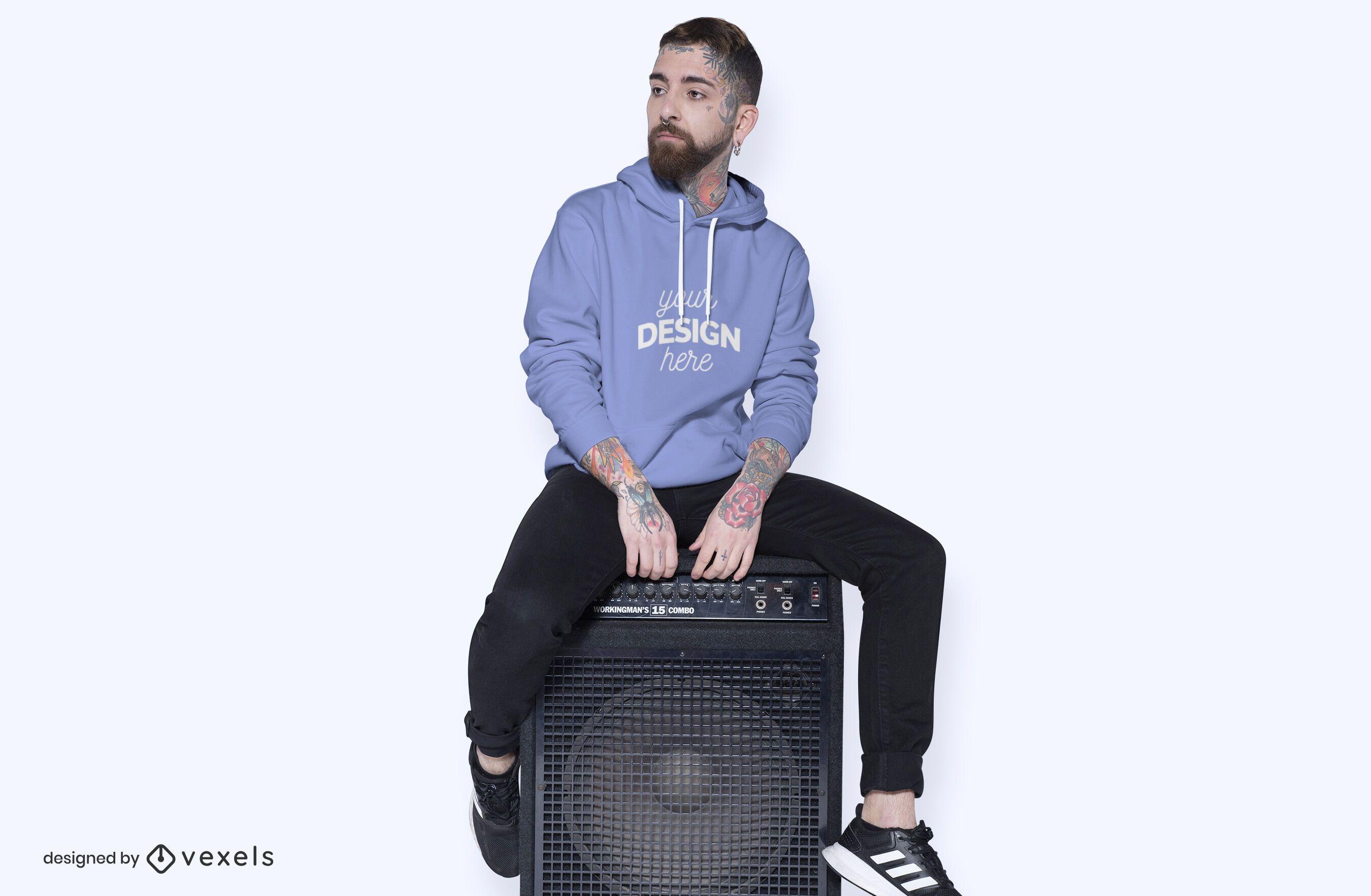 Model speaker hoodie mockup design