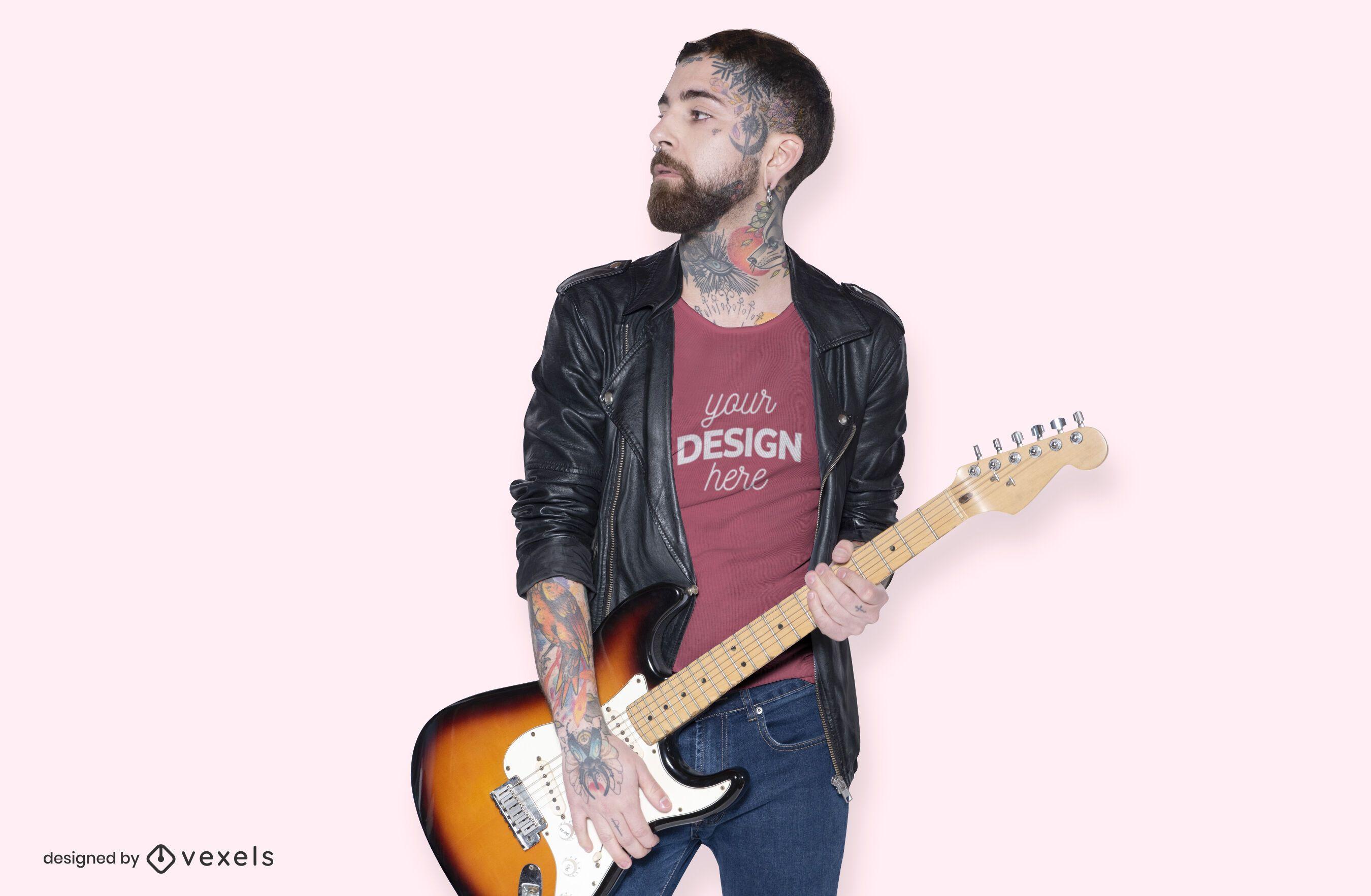 Modelo de diseño de maqueta de camiseta de guitarra