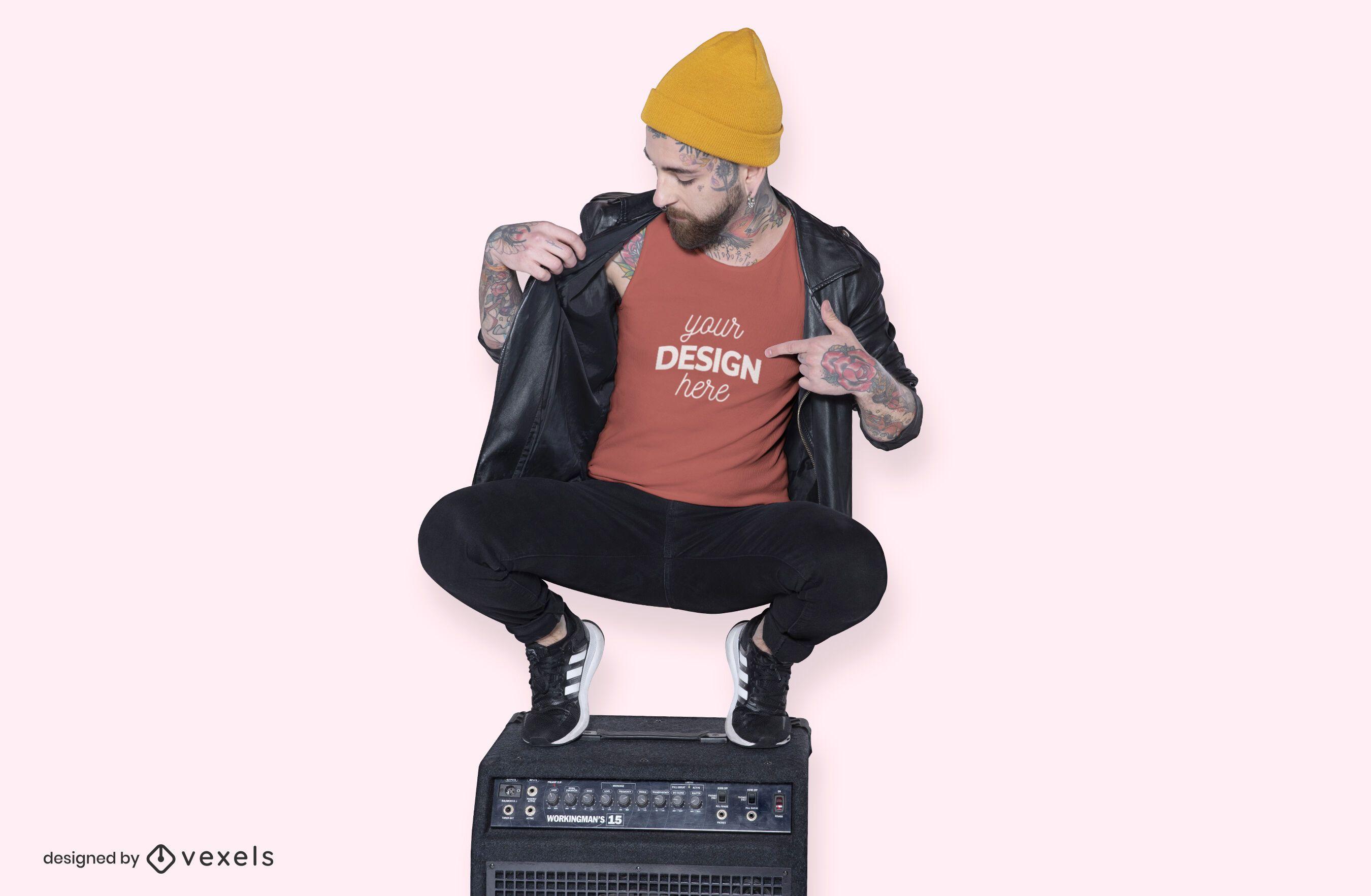Model speaker t-shirt mockup design