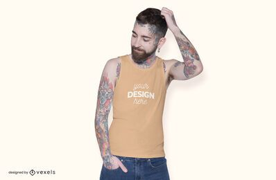 Model sleeveless shirt mockup design