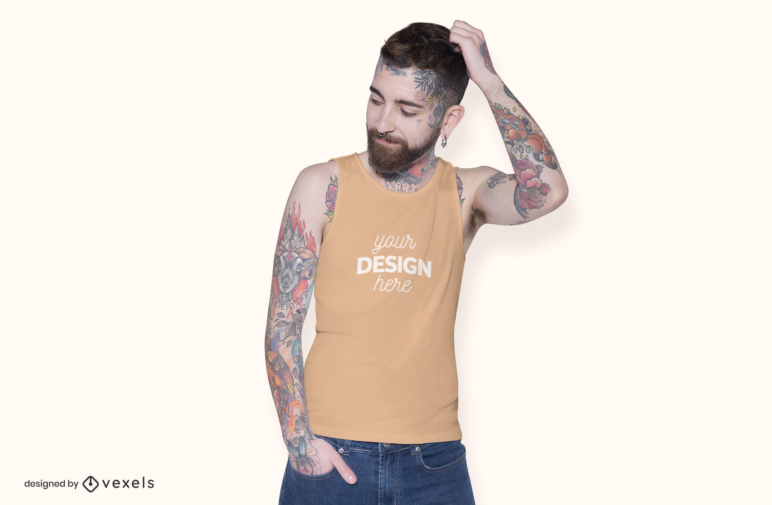 Model sleeveless shirt mockup design