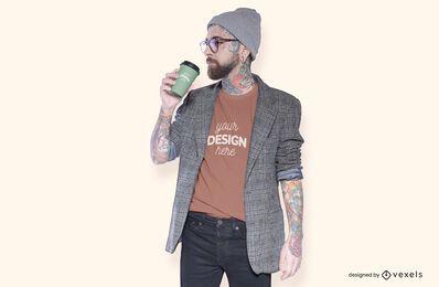 Modelo con diseño de maqueta de camiseta de café.