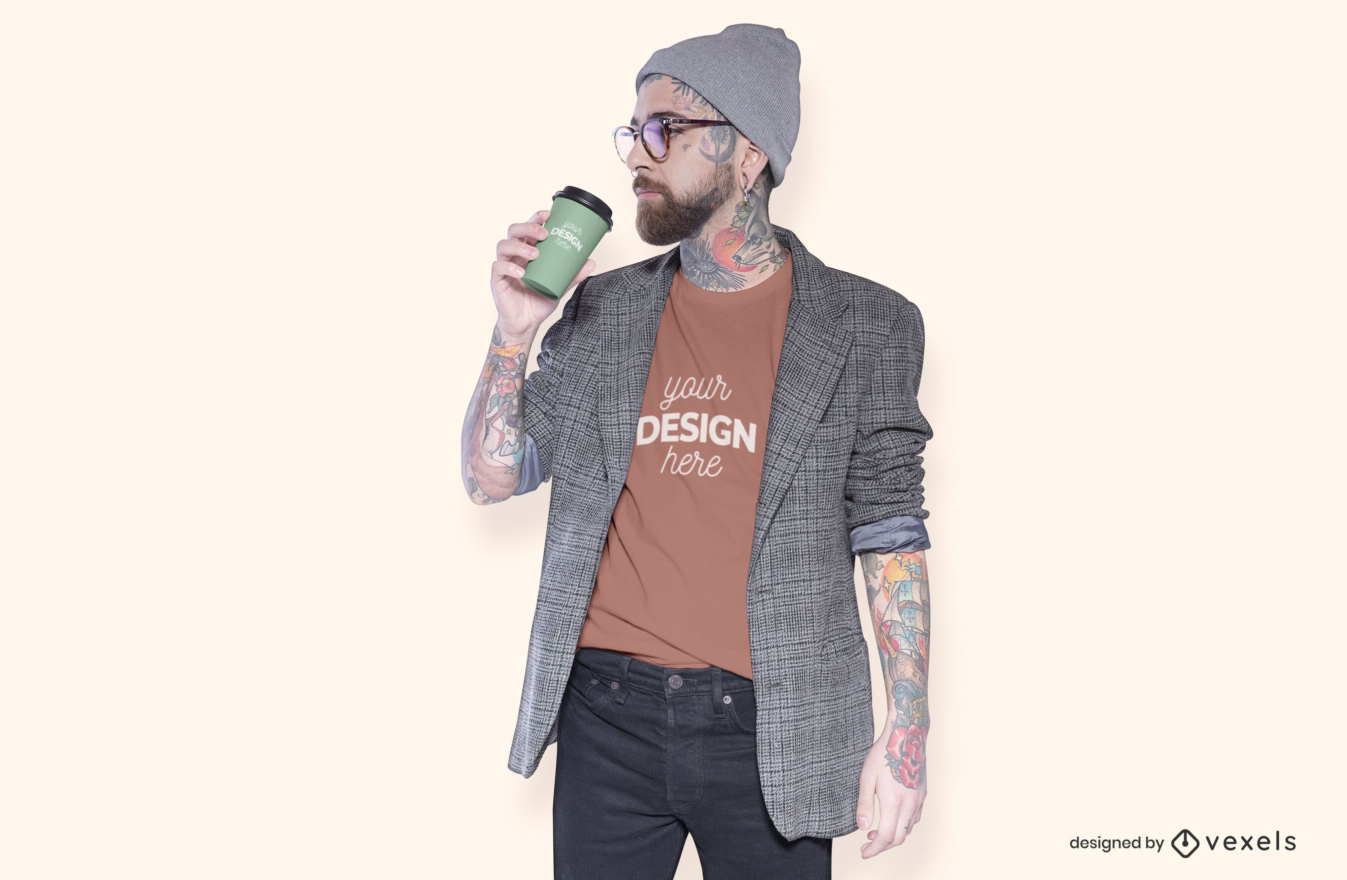 Model with coffee t-shirt mockup design