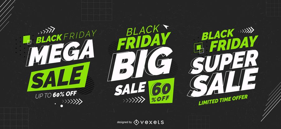 Schwarzer Freitag Mega Sale Abzeichen Set