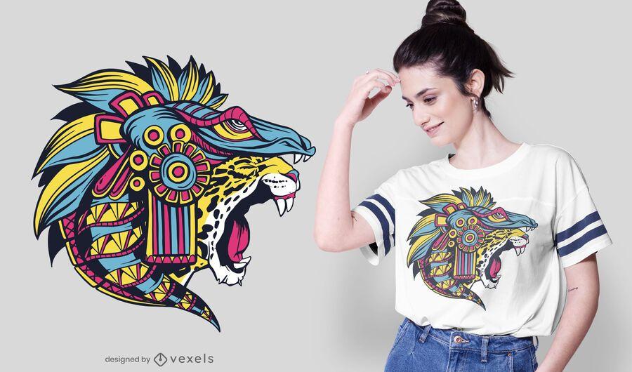 Diseño de camiseta de jaguar huichol
