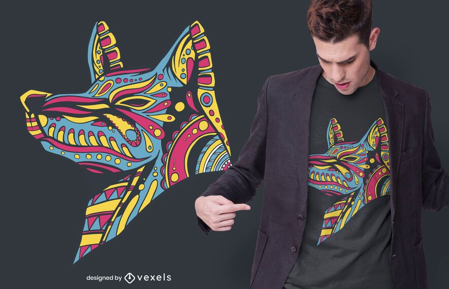 Diseño de camiseta de lobo huichol