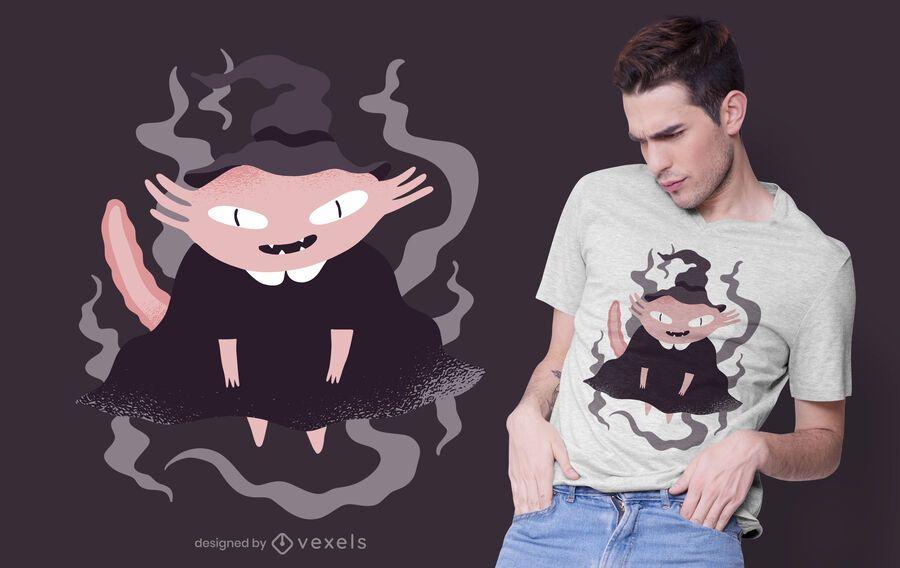Diseño de camiseta de bruja axolotl