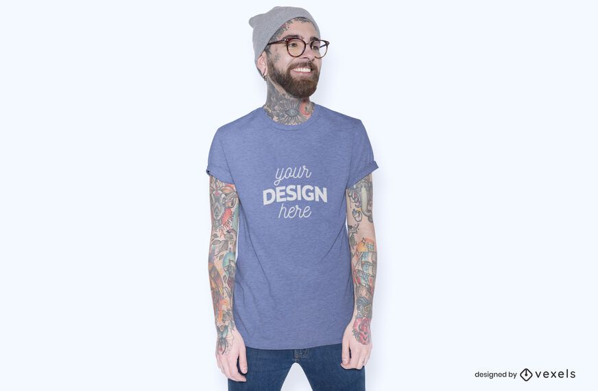 Model with glasses t-shirt mockup