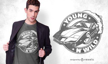 Diseño de camiseta con insignia de muscle car
