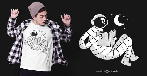 Astronaut reading t-shirt design