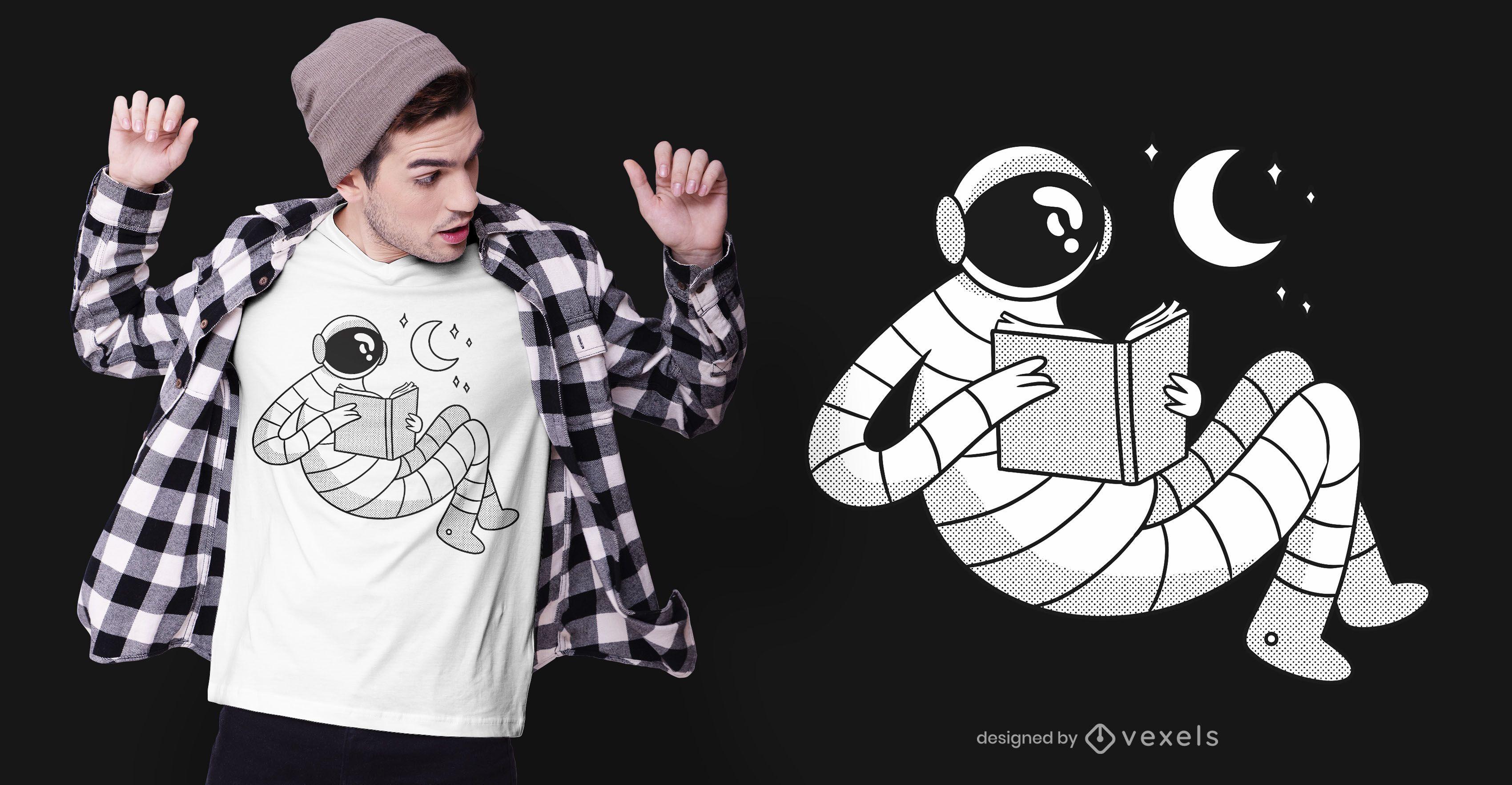 Diseño de camiseta de astronauta leyendo.