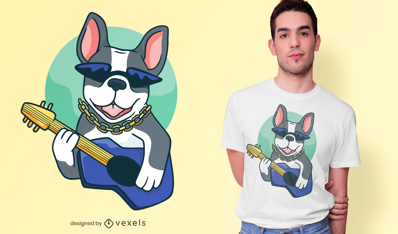 Diseño de camiseta de guitarrista de bulldog