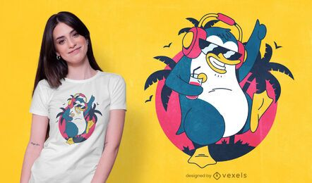 Dancing tropical penguin t-shirt design