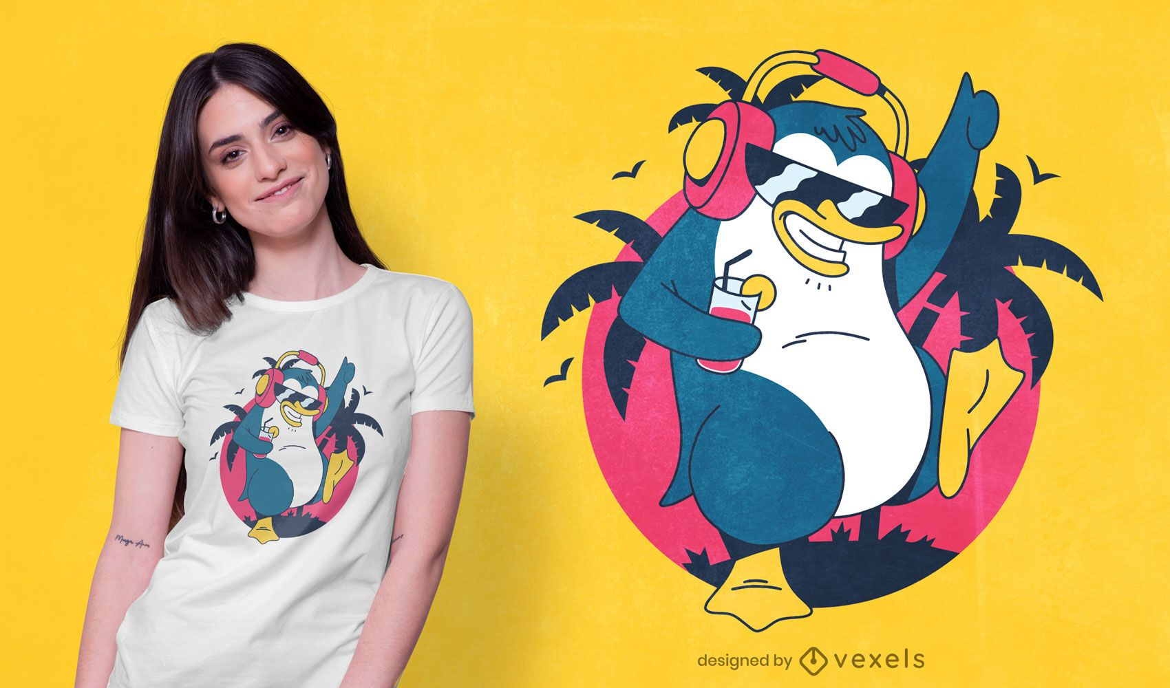 Diseño de camiseta de pingüino tropical bailando.