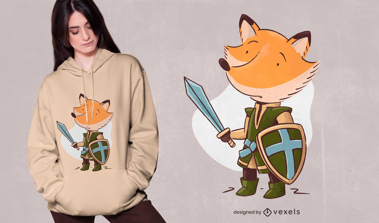 Diseño de camiseta Knight Fox
