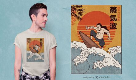 Samurai surfing t-shirt design