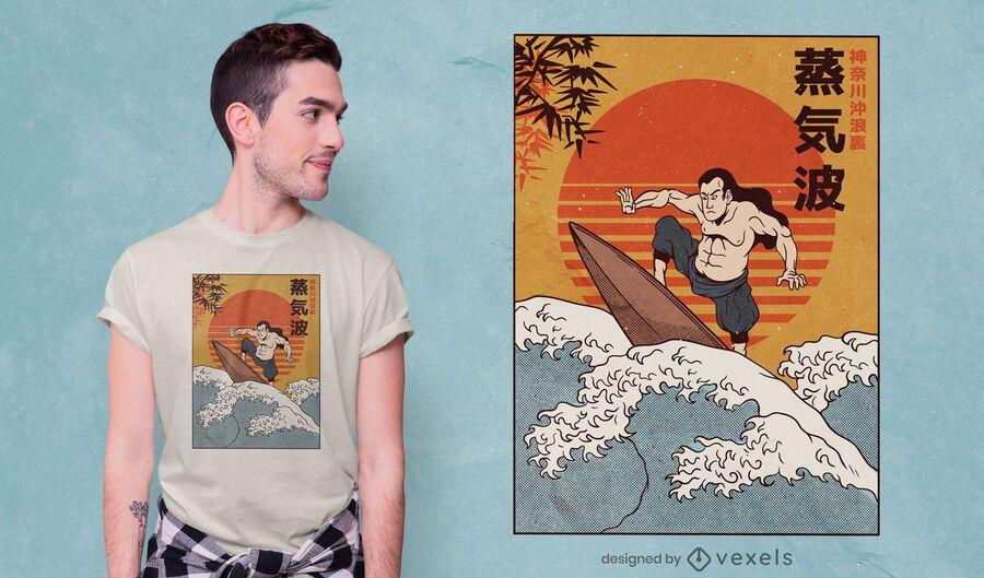 Samurai Surfing T-Shirt Design