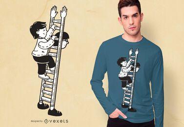 Diseño de camiseta de escalera de papá