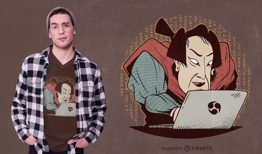 Samurai coding t-shirt design