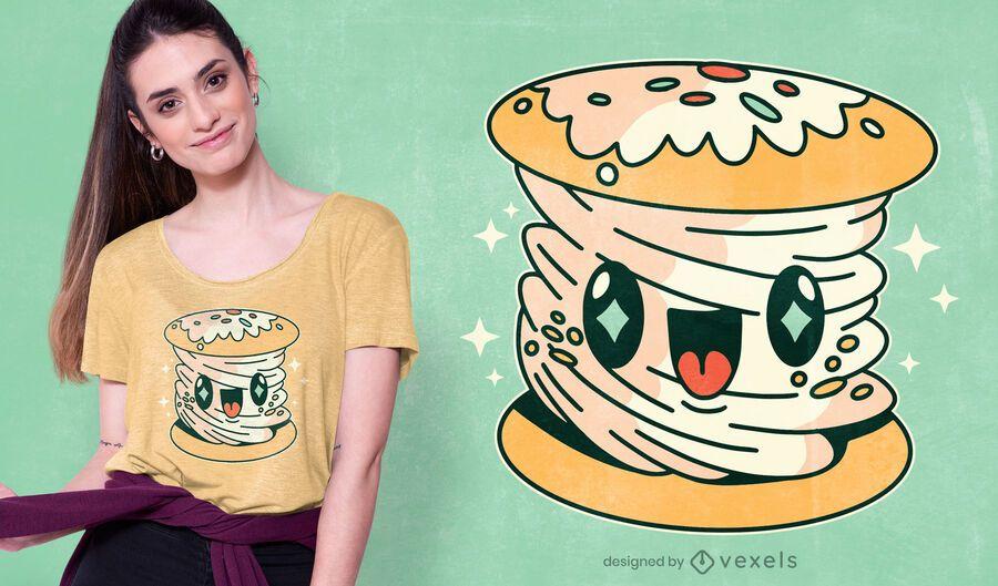 Design de t-shirt kawaii com pastel de chantilly