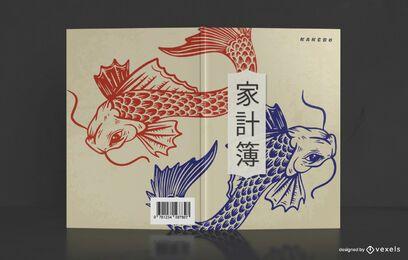 Diseño de portada de libro de pez carpa china
