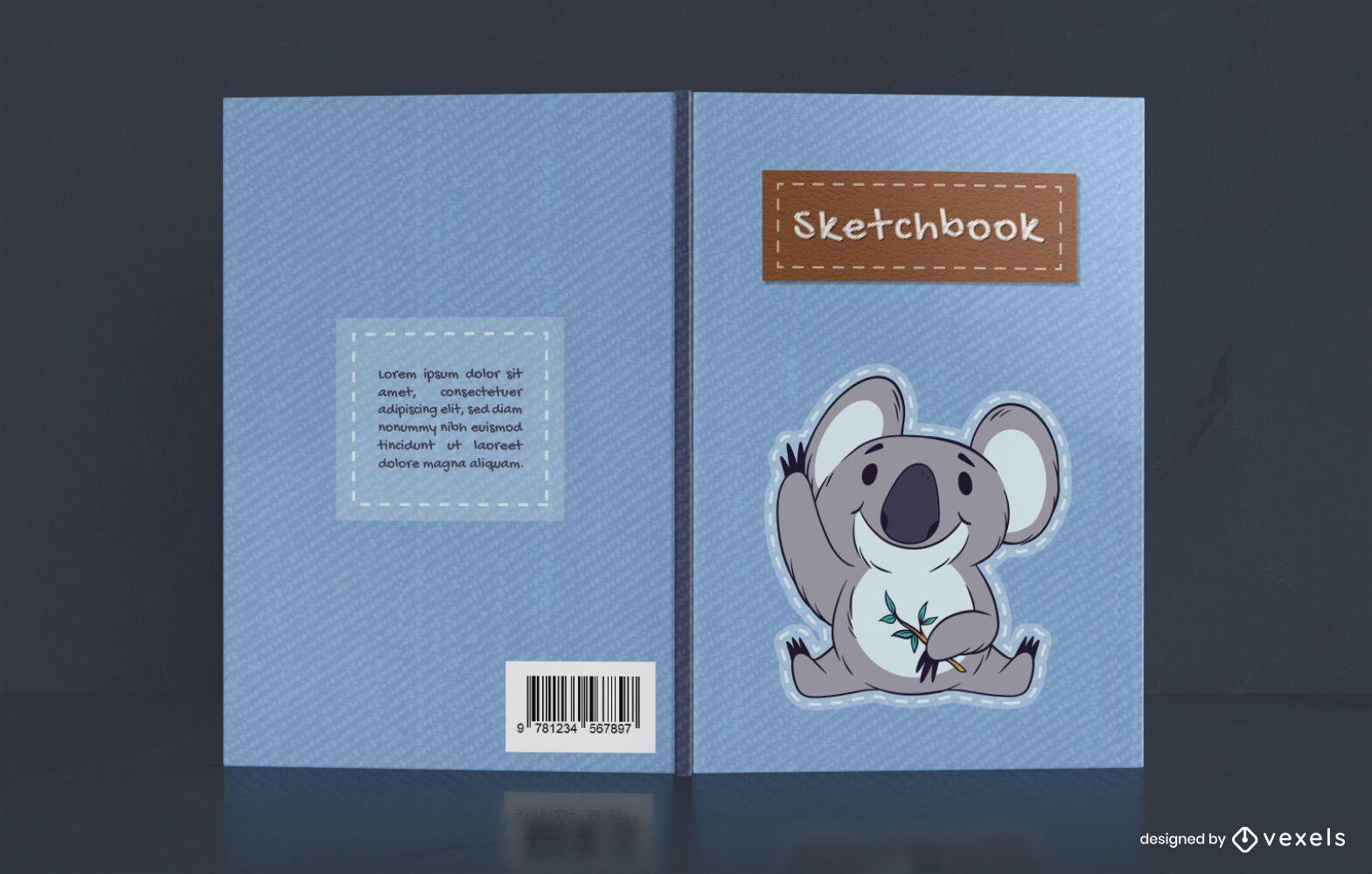 Lindo diseño de portada de cuaderno de bocetos Koala