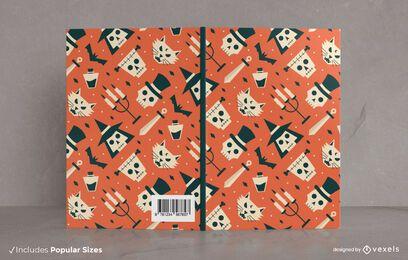 Design de capa de livro com padrão plano de Halloween
