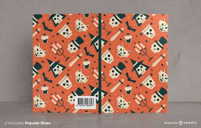 Flaches Halloween-Muster-Buchumschlag-Design