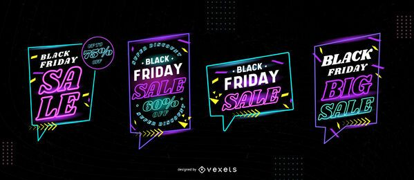 Black friday sale neon badge set