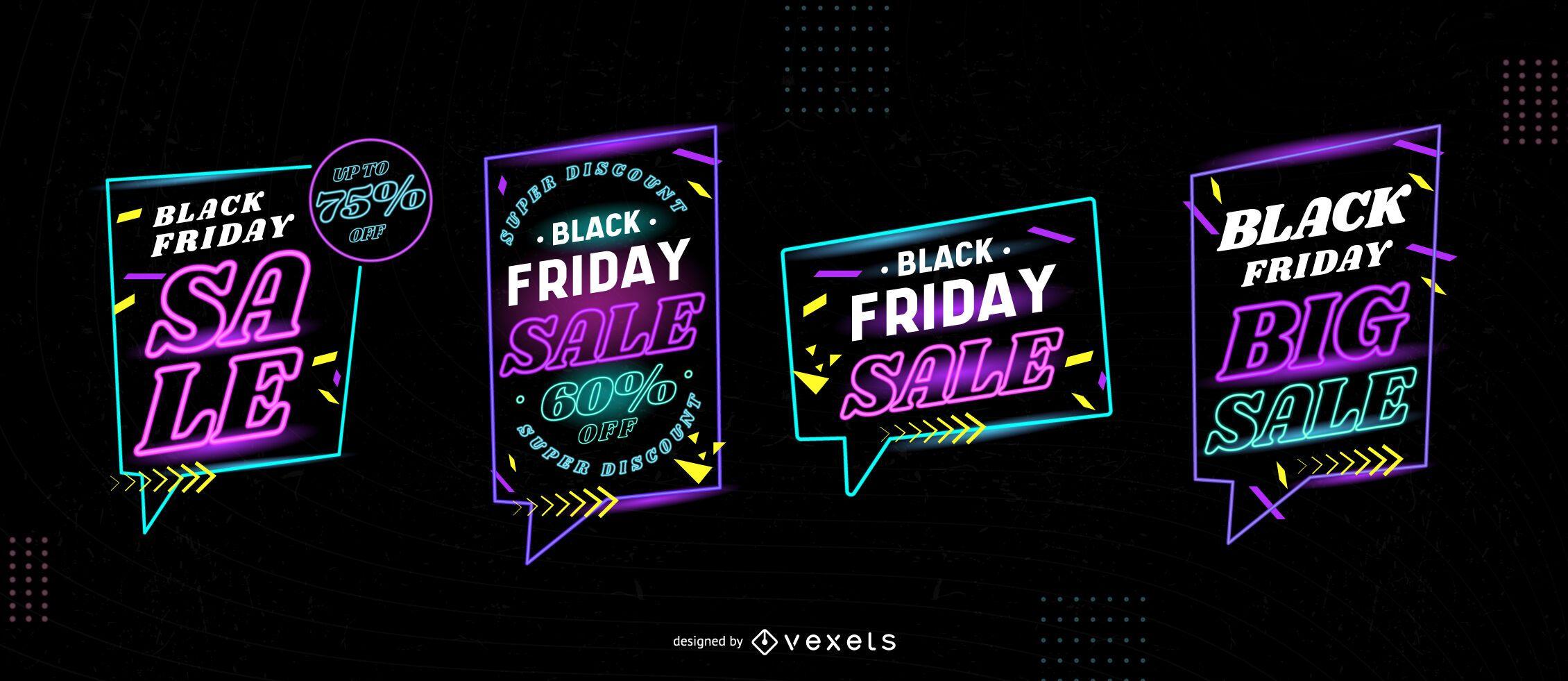 Black friday sale neon badge set