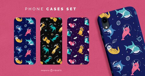 Space animals phone case set