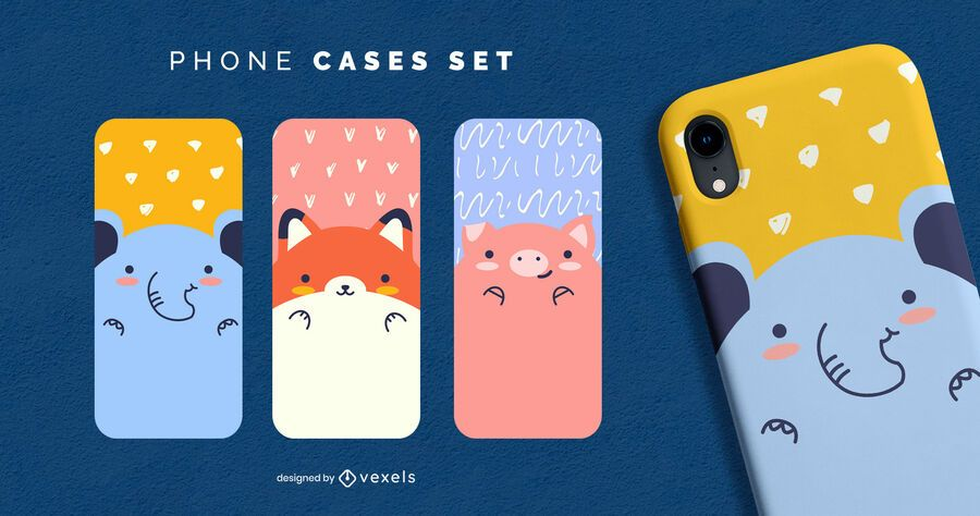 Conjunto de capa de telefone de animais fofos