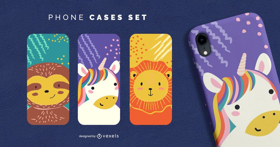 Conjunto de capa de telefone fofa de animais